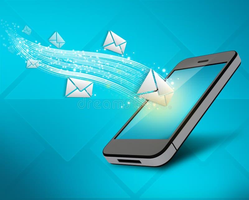 Inkomende berichten aan uw mobiele telefoon stock illustratie