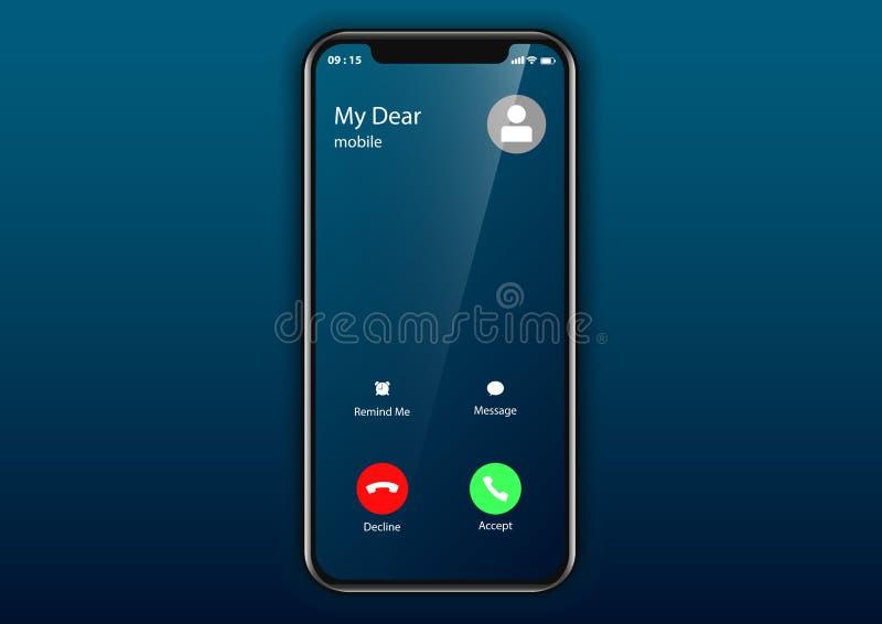 Inkomende het gebruikersinterfacemobiele telefoon van het vraagscherm stock illustratie