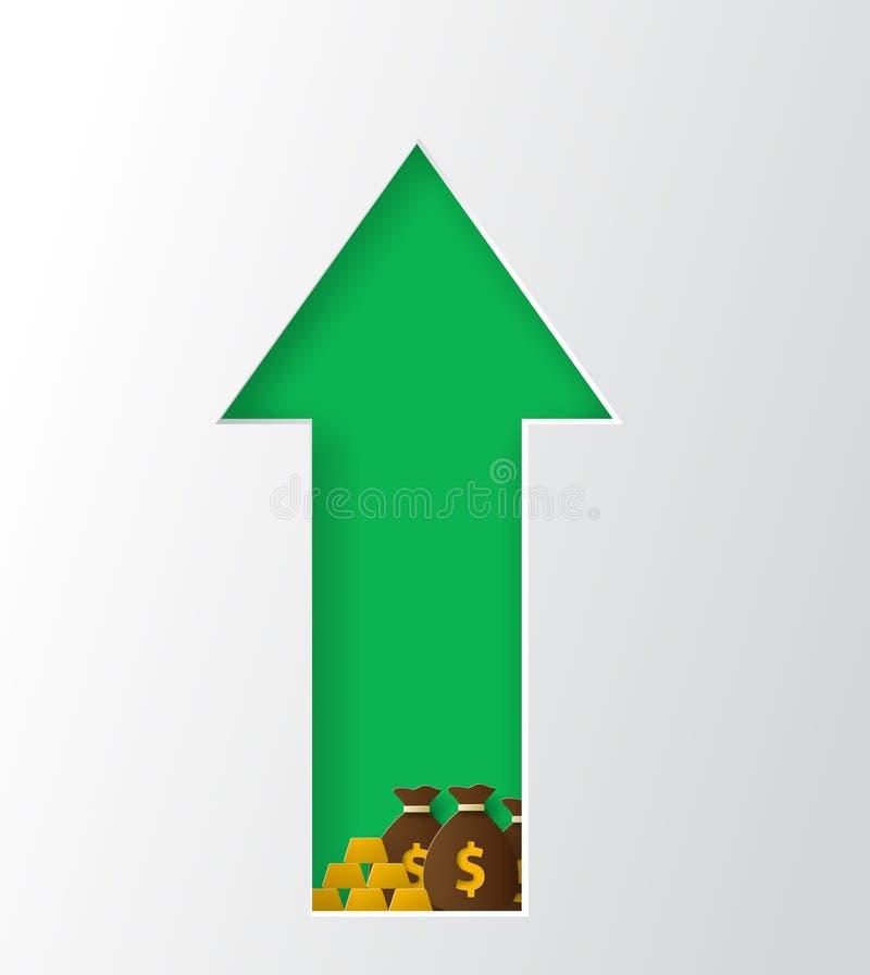 Inkomensverhoging, financiële strategie Het document sneed stijlvector stock illustratie