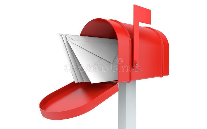 inkomma post brevlåda med isolerade bokstäver royaltyfri illustrationer