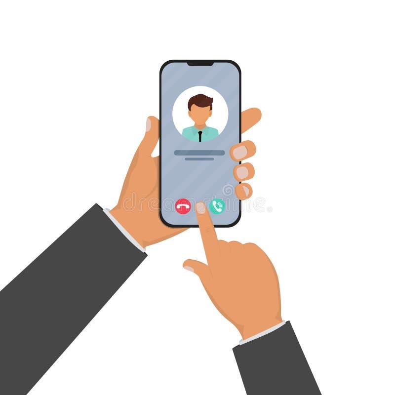 Inkommande appell på smartphoneskärmen Kalla service Modernt begrepp för rengöringsdukbaner, websites, infographics Idérik plan d royaltyfri illustrationer