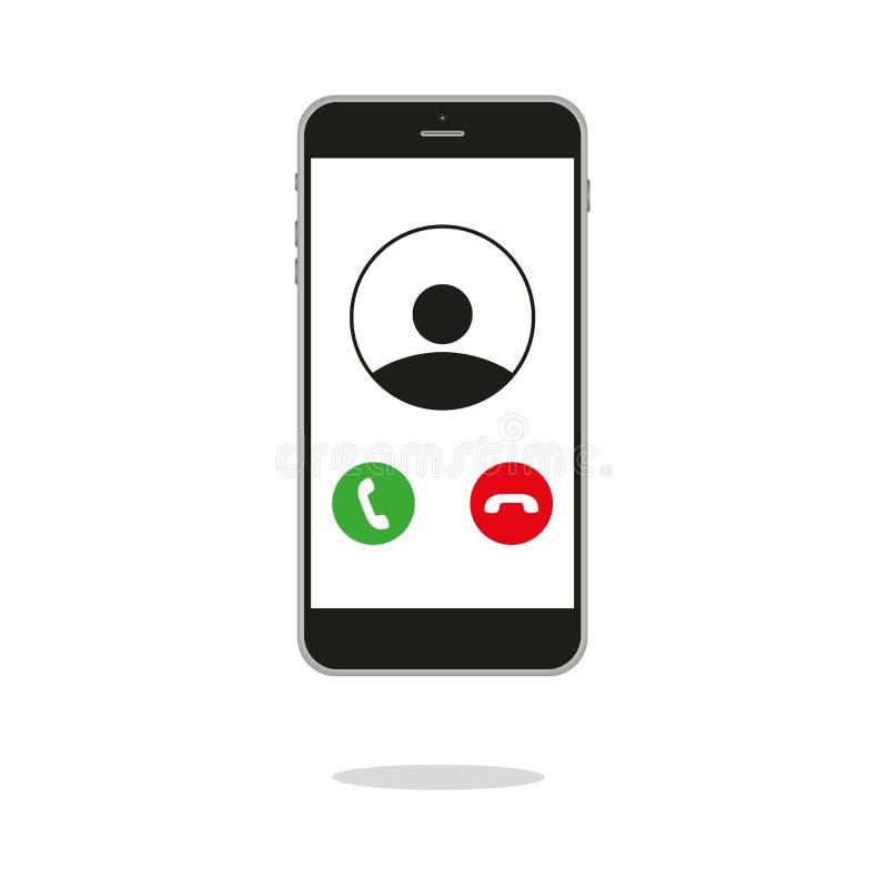 Inkommande appell på smartphoneskärmen Plan designvektorillustration Kalla service Modernt begrepp för rengöringsdukbaner, webbpl stock illustrationer