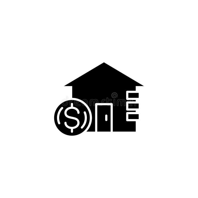 Inkomst från begrepp för fastighetsvartsymbol Inkomst från symbolet för fastighetlägenhetvektor, tecken, illustration royaltyfri illustrationer