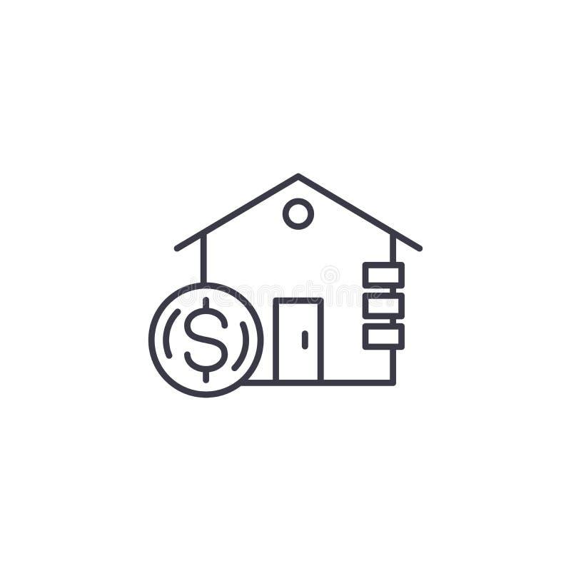Inkomst från linjärt symbolsbegrepp för fastighet Inkomst från fastighetlinjen vektortecken, symbol, illustration stock illustrationer