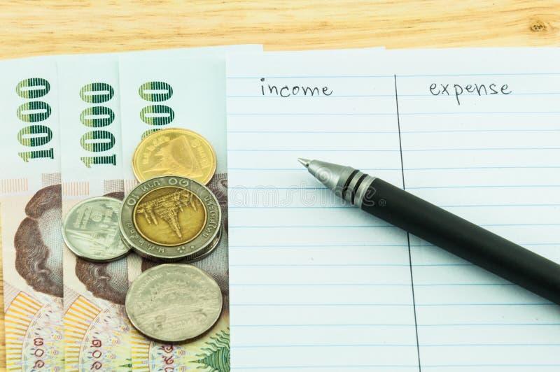Inkomst & Kostnad Arkivfoto