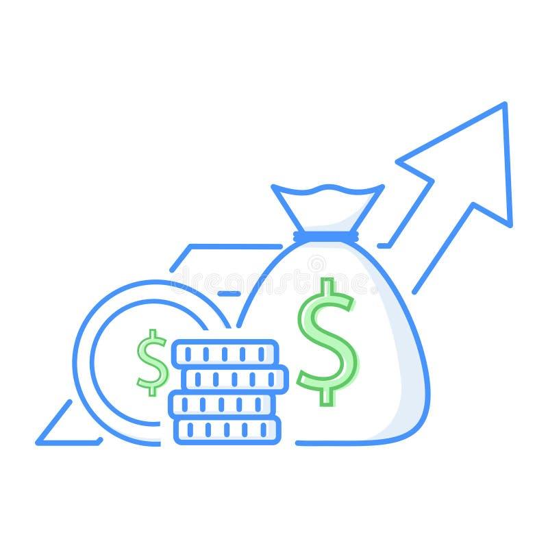 Inkomstförhöjning, analytics för finansiell kapacitet eller långsiktig investering och medelsförvaltning Intäkttillväxt royaltyfri illustrationer