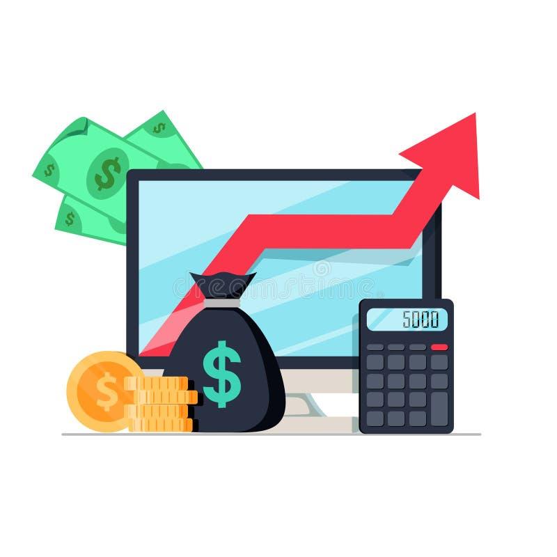 Inkomstförhöjning, analytics för finansiell kapacitet eller långsiktig investering och medelsförvaltning Intäkttillväxt stock illustrationer