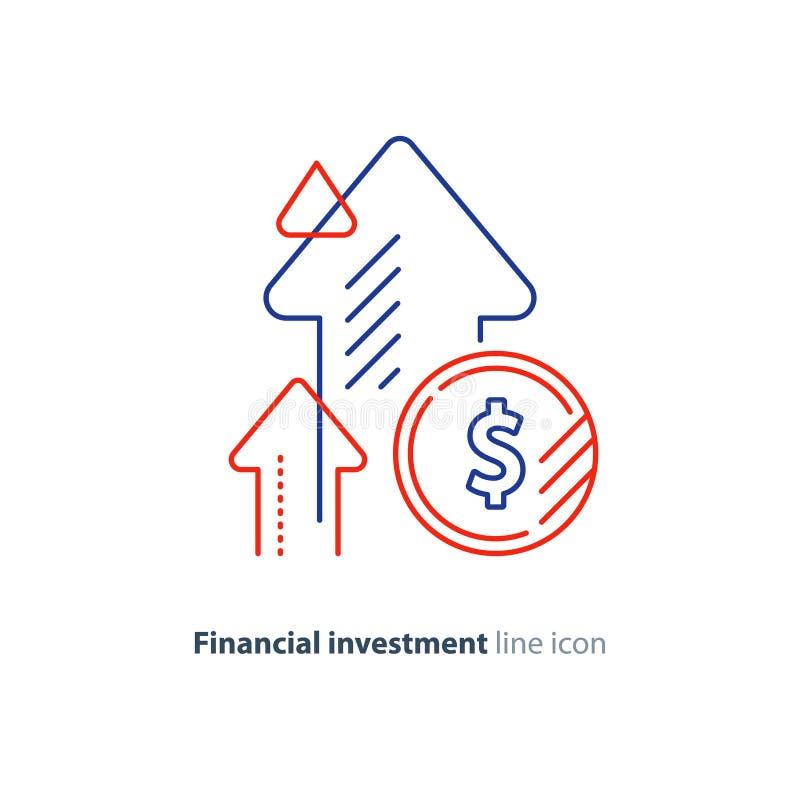 Inkomstförhöjning, inbringande investering, finansiell tillväxt, fondresning, linje symbol stock illustrationer