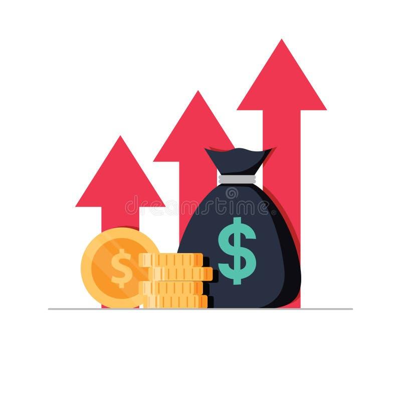 Inkomstförhöjningstrategi, finansiell hög retur på investering, lyfta för fond och intäkttillväxt eller räntesats vektor illustrationer