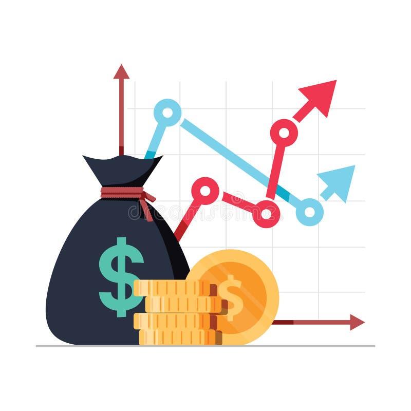 Inkomstförhöjningstrategi, finansiell hög retur på investering, lyfta för fond och intäkttillväxträntesats vektor illustrationer