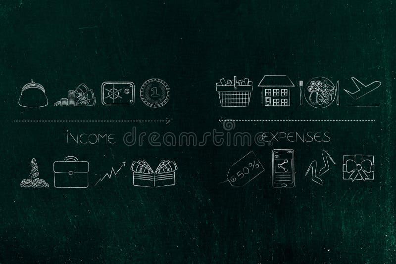 Inkomstsymboler från kassa till safebox- och investeringstatistik vs expens royaltyfri fotografi