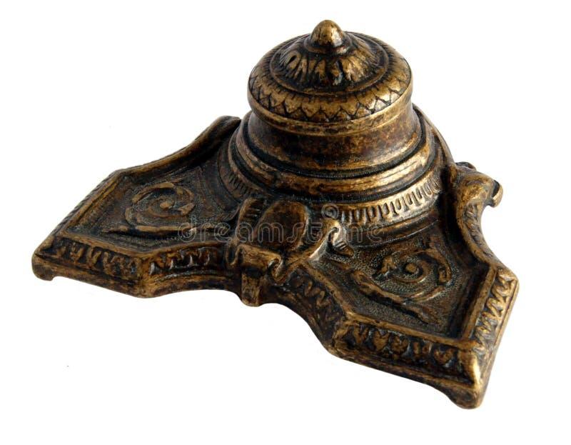 Inkpot bronzeo antico fotografie stock