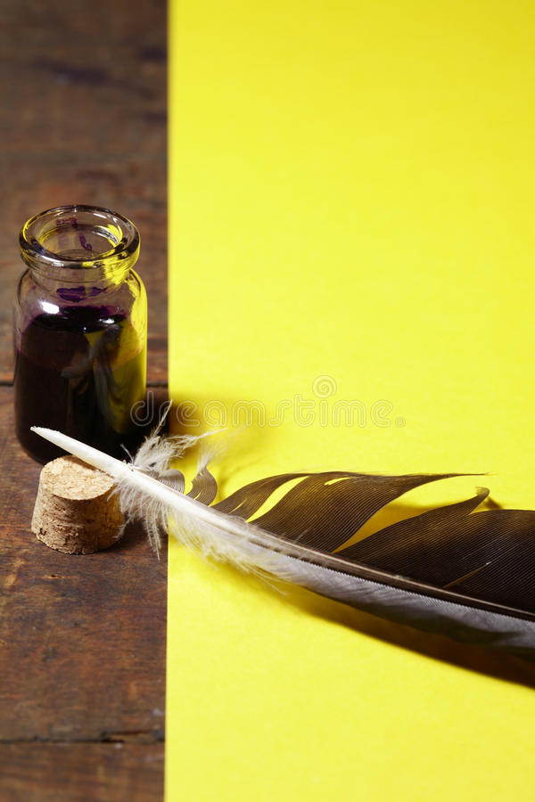 Inkpot And Quill Pen stock image