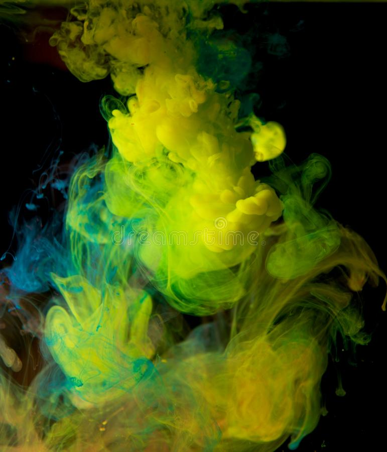Inks in water, color abstraction, color explosion stock images
