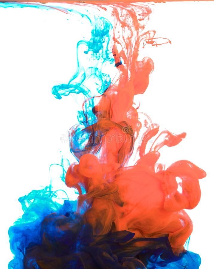 Inks in water, color abstraction, color explosion royalty free stock photos