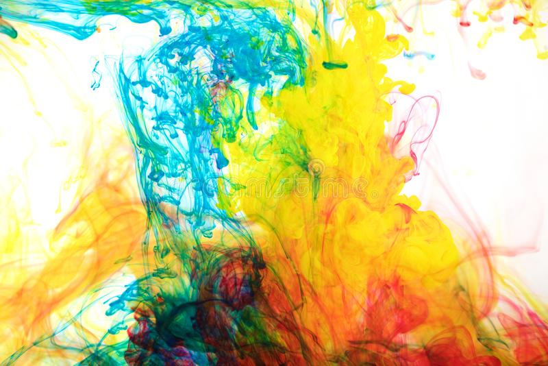 Inks in water, color abstraction, color explosion stock image