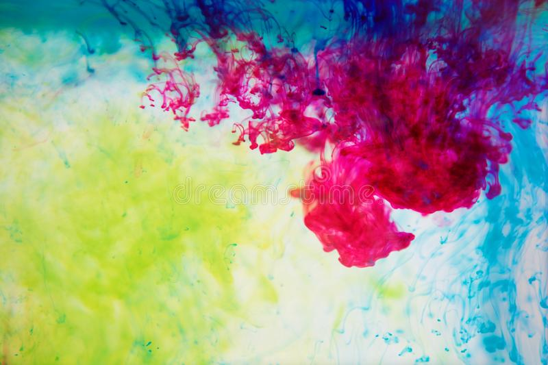 Inks in water, color abstraction, color explosion royalty free stock image