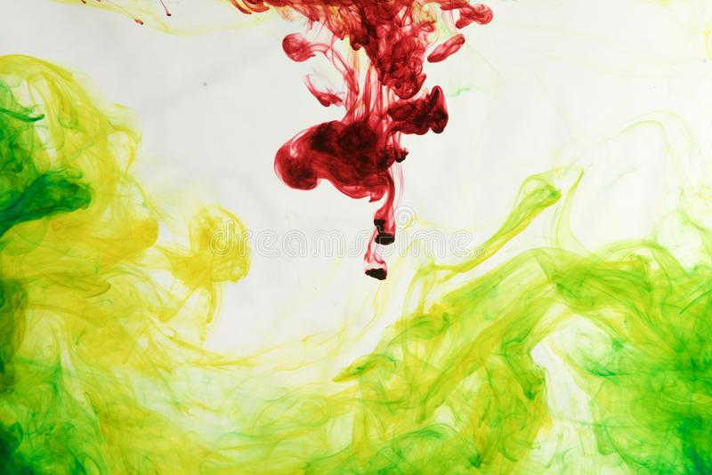 Inks in water, color abstraction, color explosion royalty free stock photography