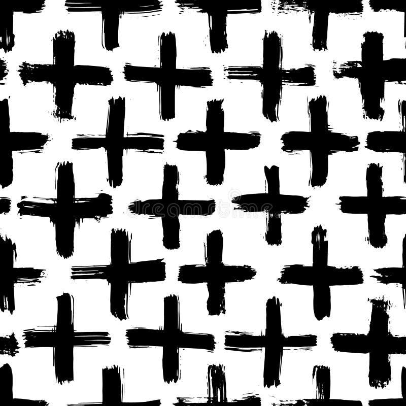 Inkt abstract naadloos patroon Achtergrond met artistieke slagen in zwart-witte schetsmatige stijl Ontwerpelement voor stock illustratie