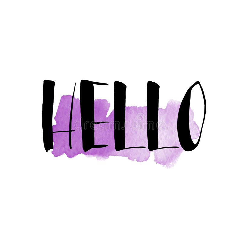 Inkt en waterverfborstelhand het van letters voorzien hello Moderne calligrap stock illustratie