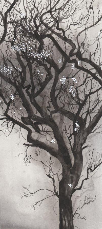 Inkt geblazen boom stock illustratie