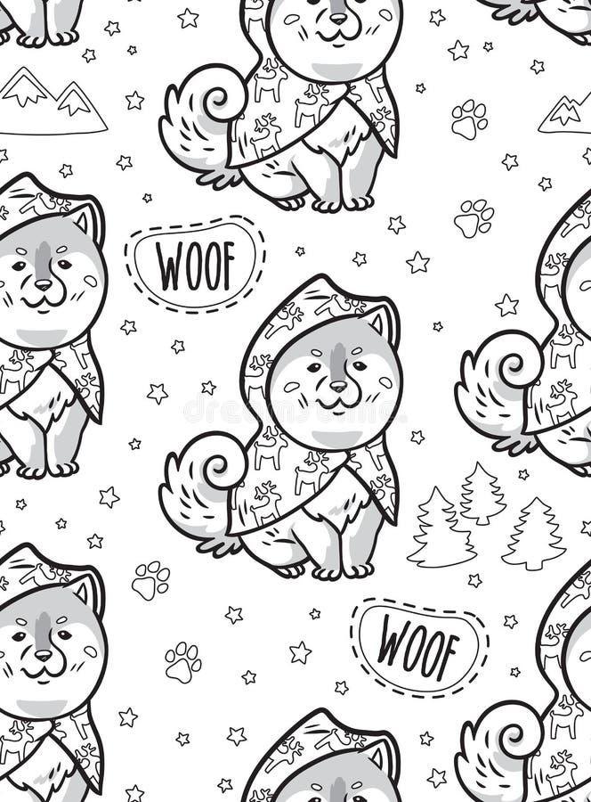 Inkt schor puppy op regenjassen vector eindeloze achtergrond vector illustratie