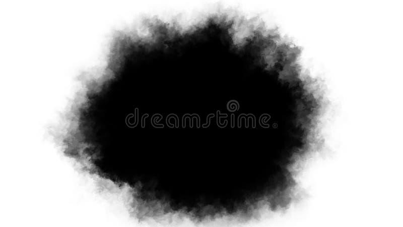 Inkt transitie splatter spreaded van het centrum aan randen turbulent bewegend abstracte het schilderen animatie achtergrond stock fotografie