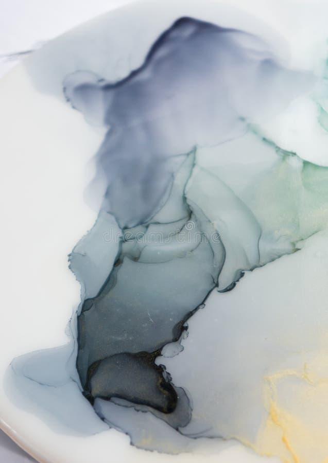 Inkt, verf, samenvatting Close-up van het schilderen Kleurrijke abstracte het schilderen achtergrond Hoogst-geweven olieverf Hoog royalty-vrije stock fotografie