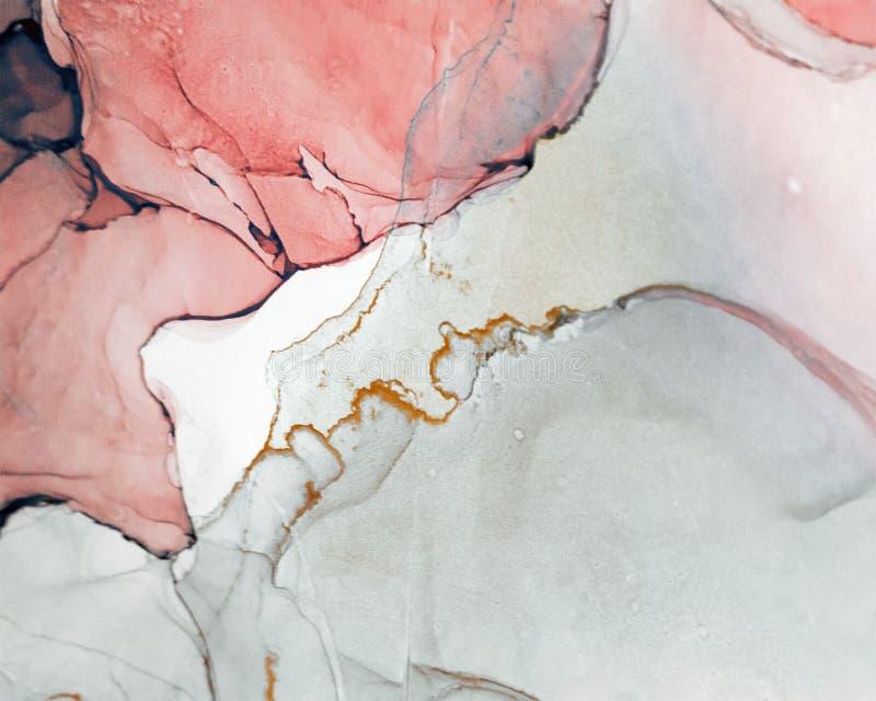 Inkt, verf, samenvatting Close-up van het schilderen Kleurrijke abstracte het schilderen achtergrond Hoogst-geweven olieverf Hoog stock afbeelding