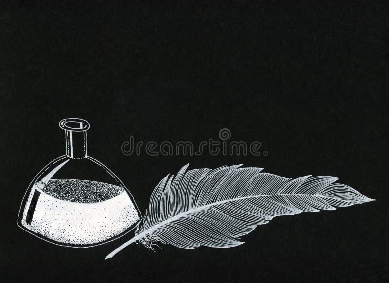 Inktfles en een veer - witte inkt op zwart canvas stock foto