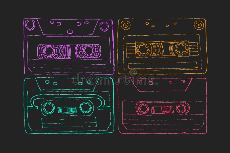Inktillustratie van een bandcassette vector illustratie