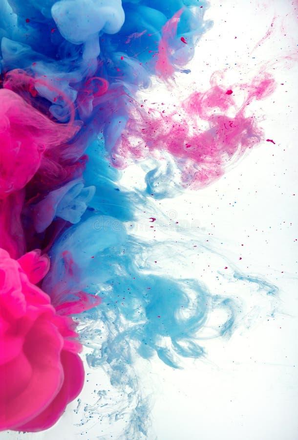Inktkleuren in waterplons stock afbeeldingen