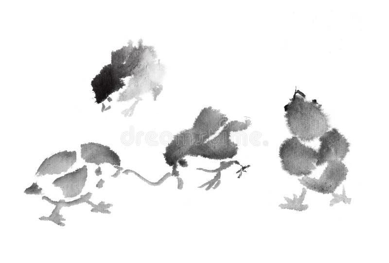 Inktkuiken stock illustratie