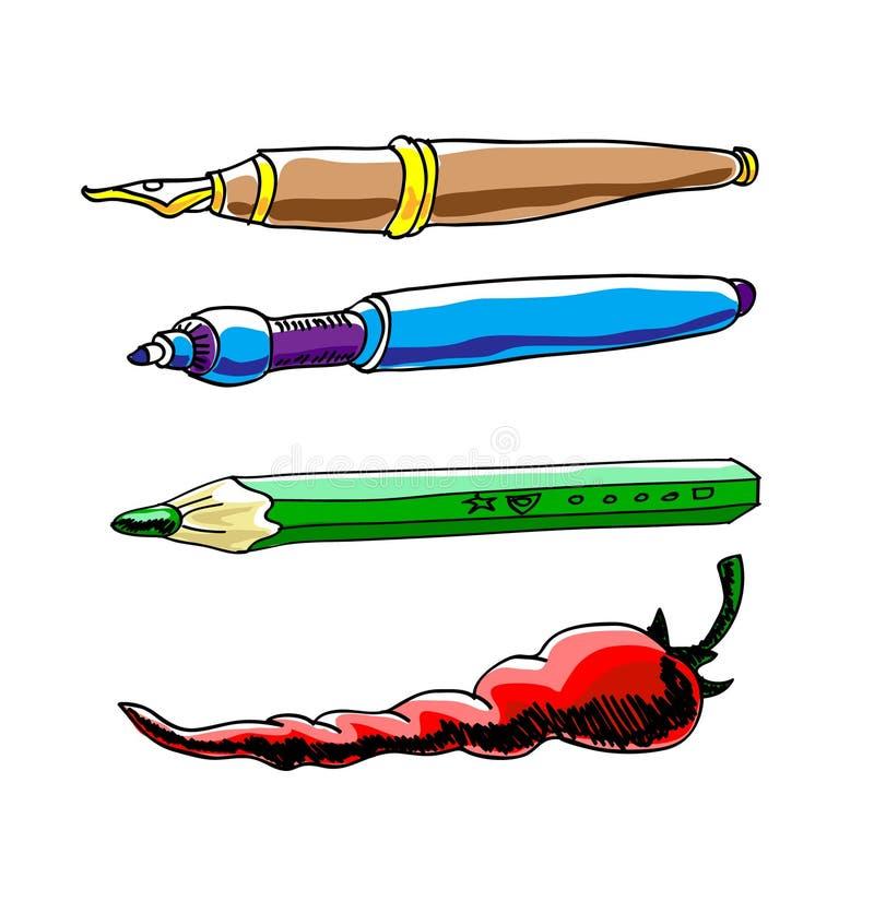 Inktpen, potlood en peper Vector illustratie stock illustratie