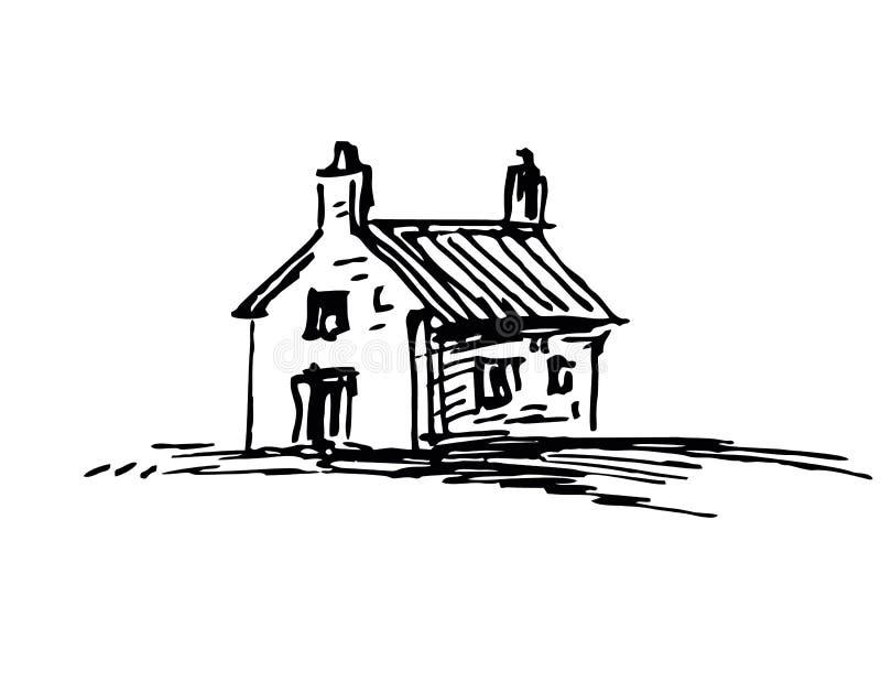 Inktschets van schuur stock illustratie