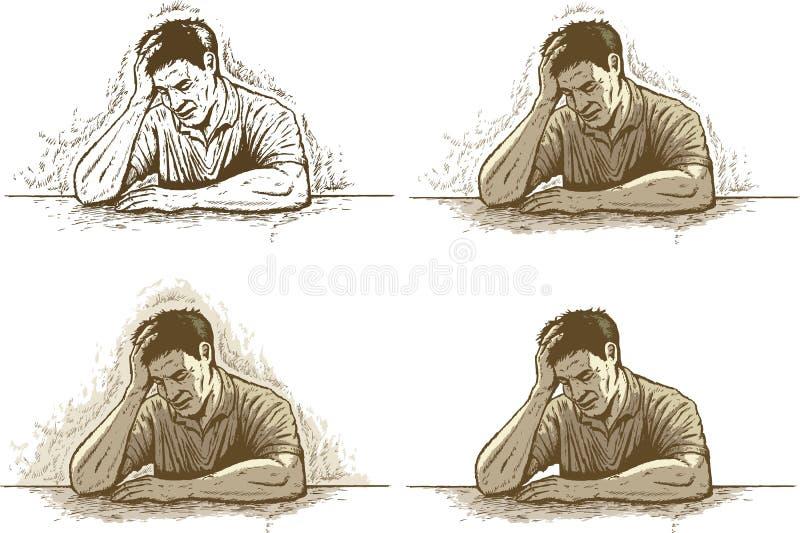 Inkttekening van depressie/hoofdpijn of spanning stock illustratie