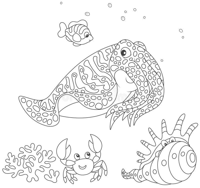 Inktvissen, krab, shell en vissen stock illustratie