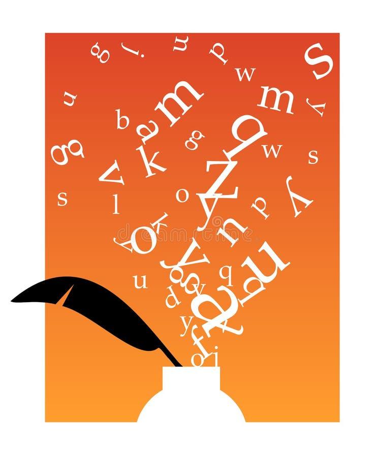 Inkwell con le lettere illustrazione vettoriale