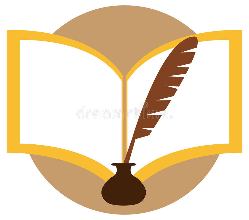 Inkwell and feather. Vector illustration - inkwell and feather stock illustration