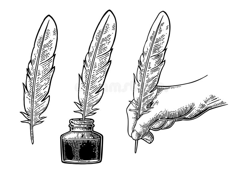 Inkwell and female hand holding a goose feather. Vector engraving. Inkwell and female hand holding a goose feather. Vector black vintage engraving illustration royalty free illustration