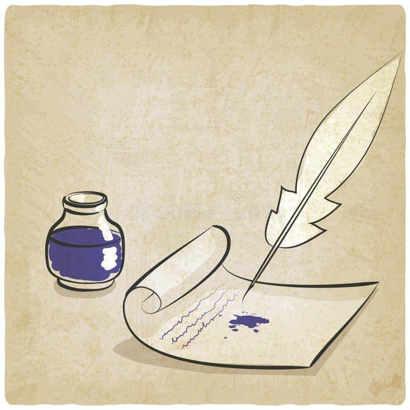 Inkwell pióra papieru stary tło royalty ilustracja