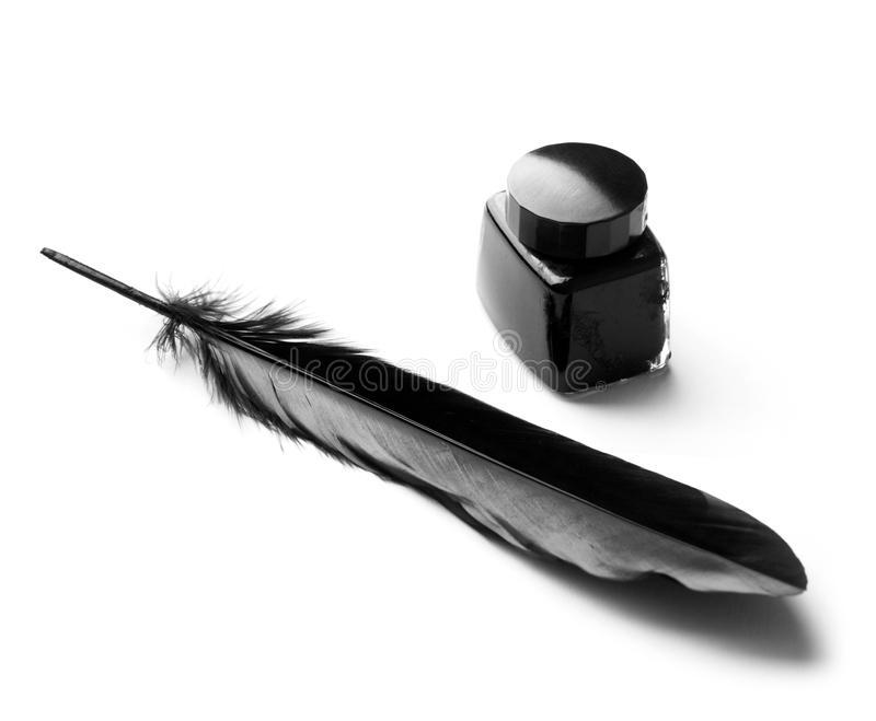 Inkwell and quill stock images