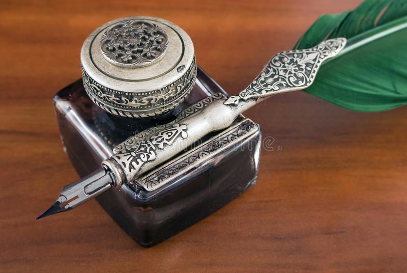 Inkwell and quill royalty free stock photos