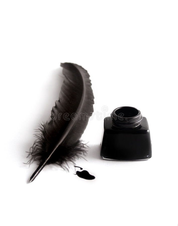 Inkwell and quill royalty free stock photo