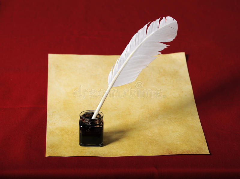 Inkwell with Quill and Old paper royalty free stock photography