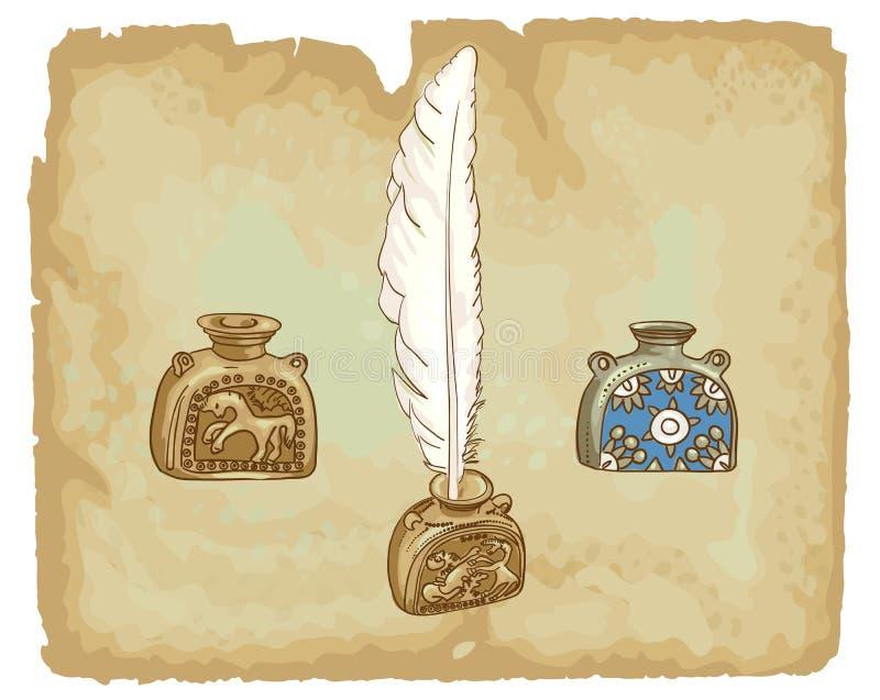 Download Inkwells Antigos. Século XVII. Ilustração do Vetor - Ilustração de pena, blank: 29825660