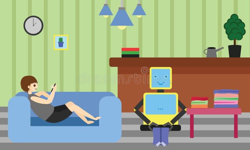 Inländischer Roboter, der die Kleidung während junger Mann stillsteht auf Sofa unter Verwendung seines Smartphone faltet vektor abbildung