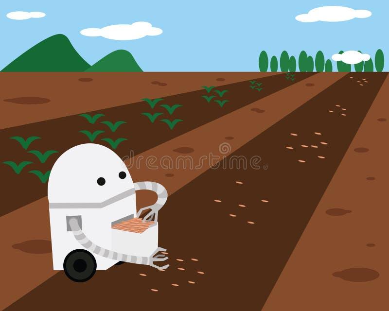Inländischer Roboter, der Samen im Boden pflanzt vektor abbildung