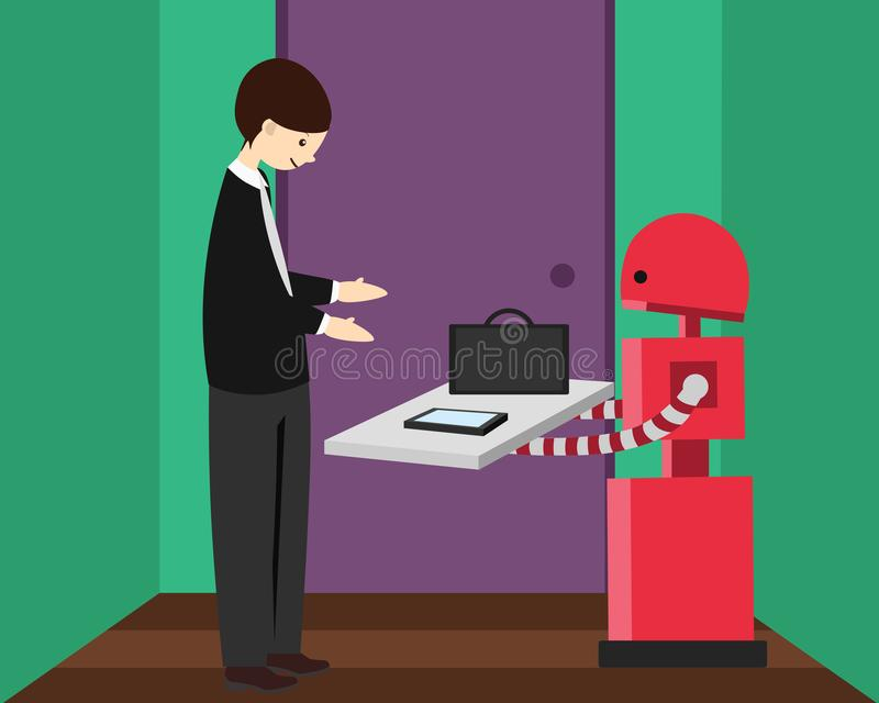 Inländischer Roboter holt seinem jungen Inhaber Aktenkoffer und Telefon, der für Arbeit verlässt stock abbildung