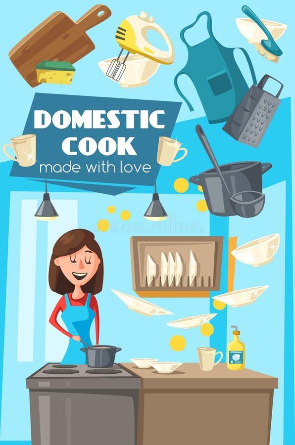 Inländisches Kochplakat für Haushaltsküchenaufgaben lizenzfreie abbildung